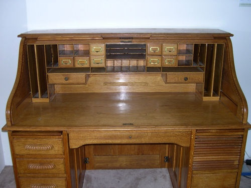 Antique Solid Oak Roll Top Desk Circa 1895 Refinish Move And Convert To A Fly  Tying