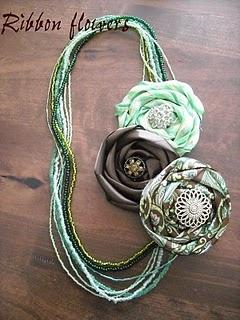 Pretty Ribbon Flowers...Cherish Handmade, Diy Necklaces, Beads Necklaces, Flower Headbands, Ribbons Flower, Flower Necklaces, Hair Accessories, Handmade Treasure, Ribbon Flower