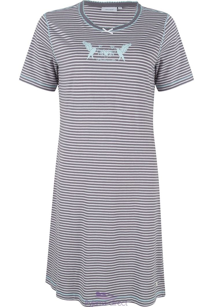 Pastunette 'Peace & Love' doves and heart picture, striped short sleeve grey nightdress  with diamanté detail