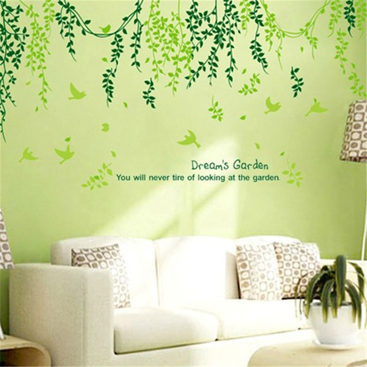 Find More Wall Stickers Information About Plant Modern Wall Sticker Green  Leaves Curtain Wall Stickers Home