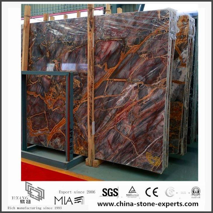 Naturlig agat rød marmor Slab For badeværelse bordplader, tabel flise og pejs dekoration - rød marmor - produkter - Xiamen YeYang Stone gruppe