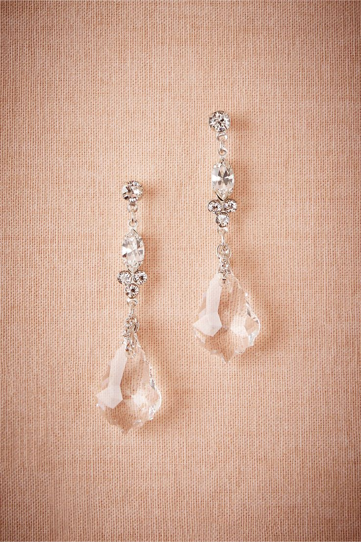 delicate bridal jewelry perfect for a black-tie wedding | Crystal Ship Chandelier Earrings from BHLDN