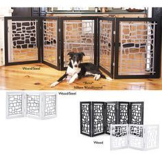 Modern wood and metal dog gates