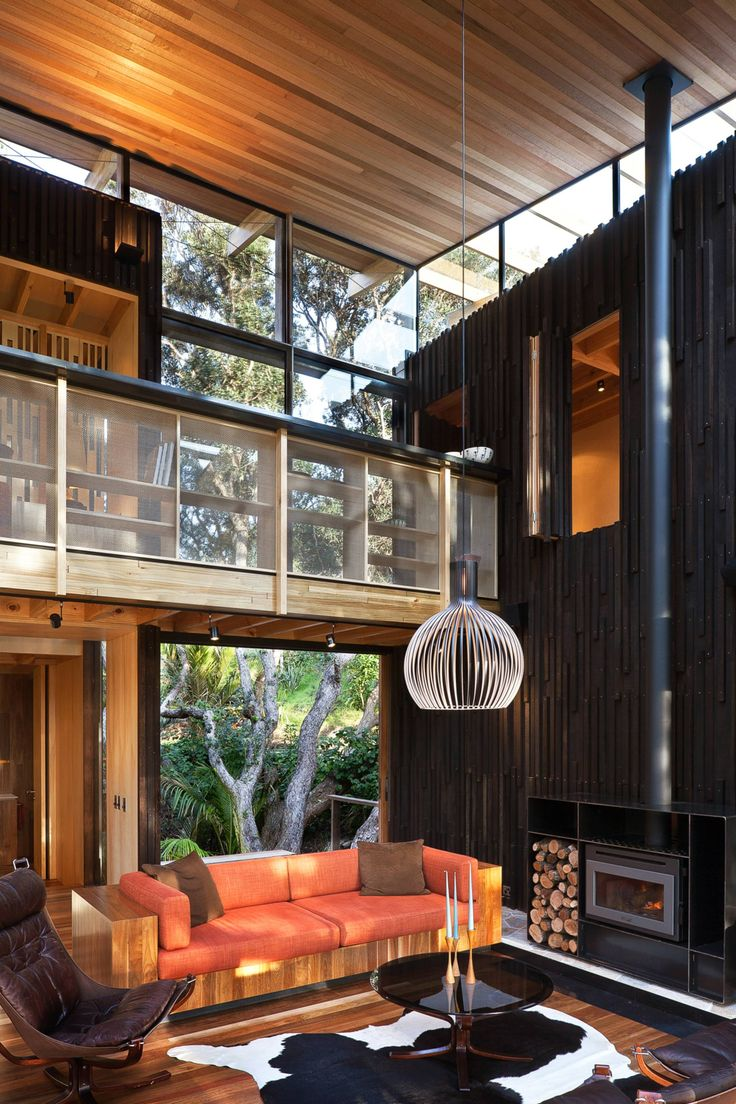 Grand designs angela started building her hut in the garage at home - The Octo 4240 Birch Pendants By Secto Design Look Amazing In This Beautiful Modern Wooden House By Herbst Architects Is Located In Pohutukawa