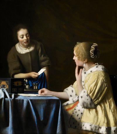 Jan Vermeer Fantesca che porge una lettera alla signora 1666–1667 Colore ad olio 90 cm x 79 cm Frick Collection
