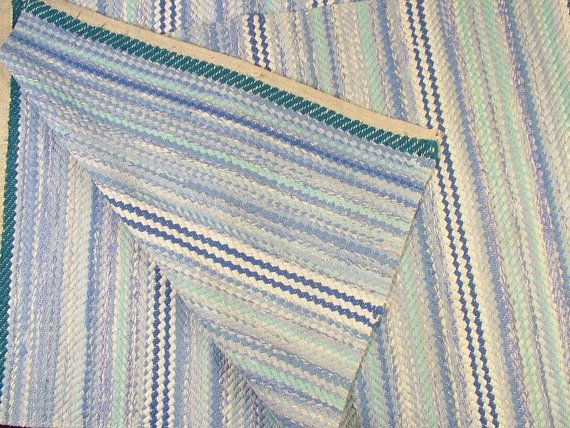 Vintage Swedish Rag Rug in turquoise and other by BeyondFranceLTD