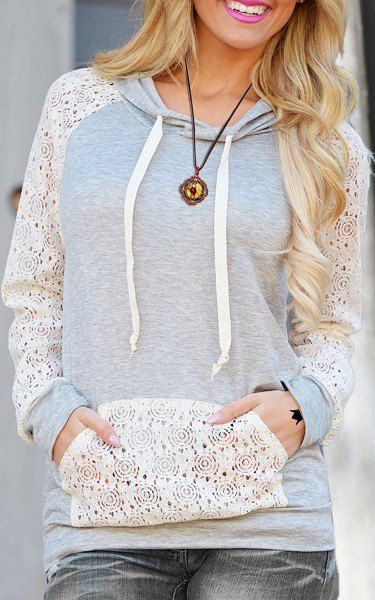 Sweet Hooded Long Sleeve Lace Spliced Pullover Hoodie