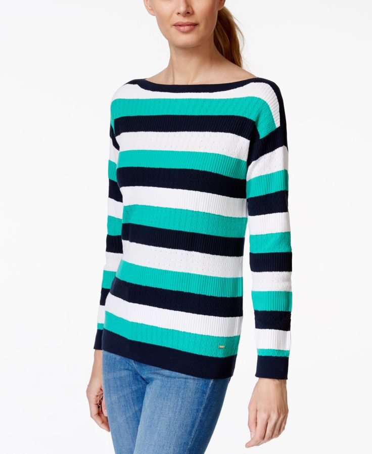 Tommy Hilfiger Laura Striped Boat-Neck Sweater