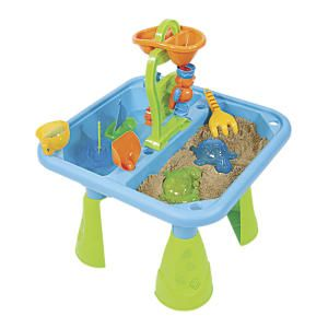 "Sand and Water Table: It's a pool, it's a sand pit, it's both! Use this clever modular play set as a pool with sand pit border or a sandbox surrounded by water. This ingenious 2-in-1 includes a 7 1/2""H x 48"" diameter basin, six snap-together border cubbies, four sand toys, two toy boats, and a keep-clean PVC cover. Best of all, the cubbies stack together for compact, off-season storage. All the fun of a sand and water table, and then some more..."
