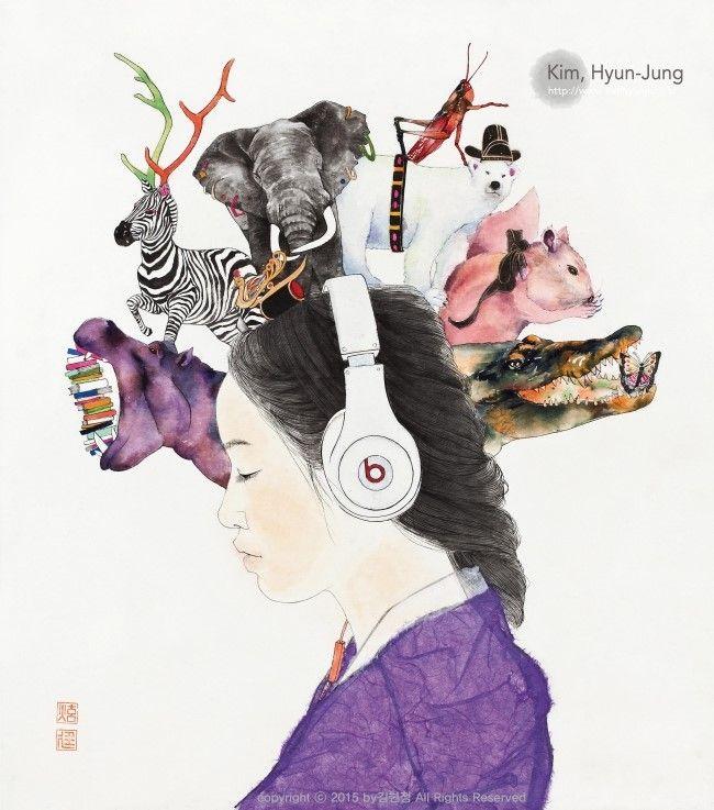 #小型耳机#音乐#眼球震颤#東洋画 #韓国画 #金炫廷 #キムヒョンジョン