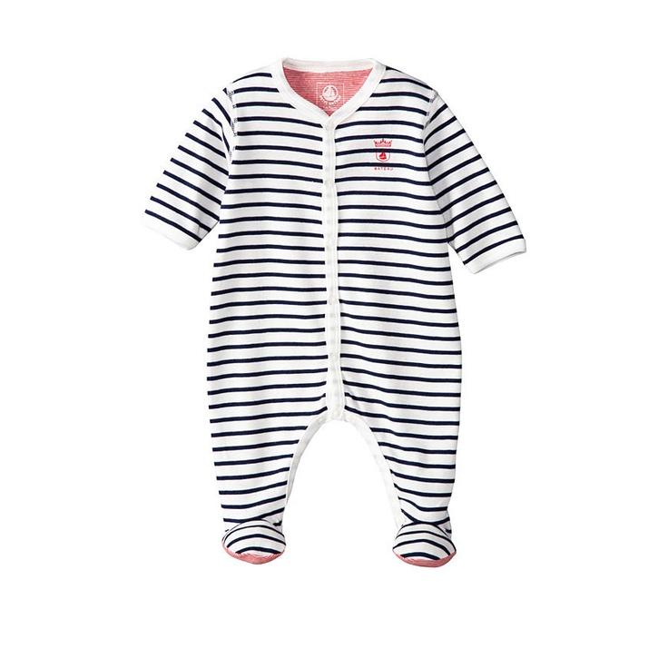Baby Boy Cotton Crawler With Sailor Stripes | Petit Bateau