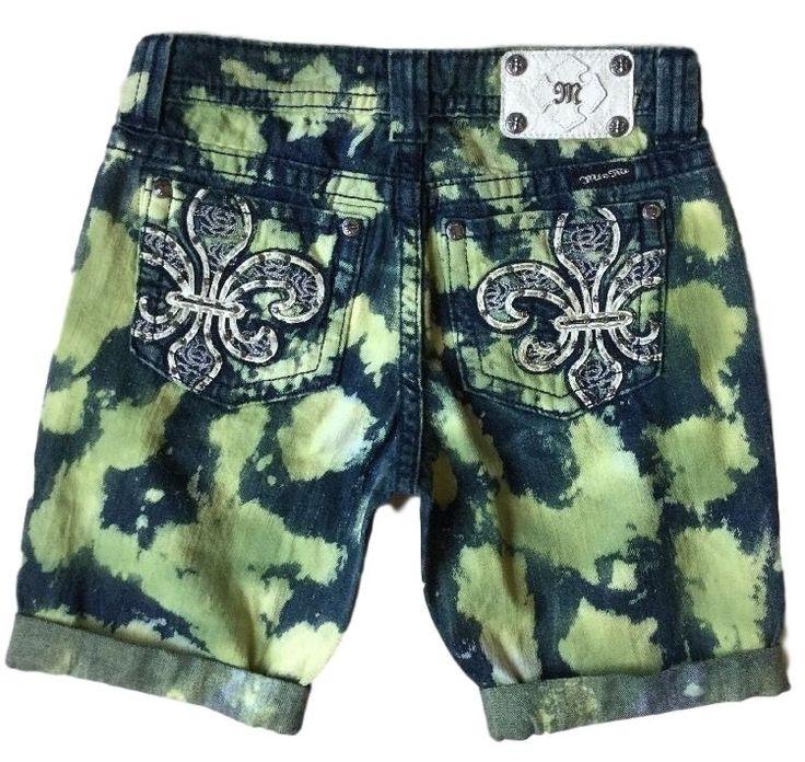 MISS ME Jeans Sale Buckle Green Tie Dye Boyfriend Stretch Denim Jean Shorts 26 #MissMe #Denim