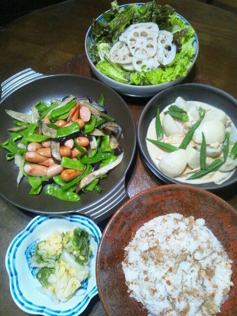 ちょっと作りすぎた~ヽ(・∀・)ノ♪ - 7件のもぐもぐ - 蕪とチキンと油揚のゴマペースト出汁煮。自家製白菜漬け。ジャコご飯。蓮根すてーきサラダ。那須とピーマンとモロッコインゲンとセロリとウィンナー炒め。 by mamipitschi