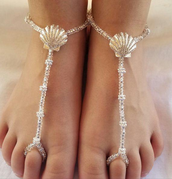 crystal rhinestone seashell beach wedding foot jewelry wedding