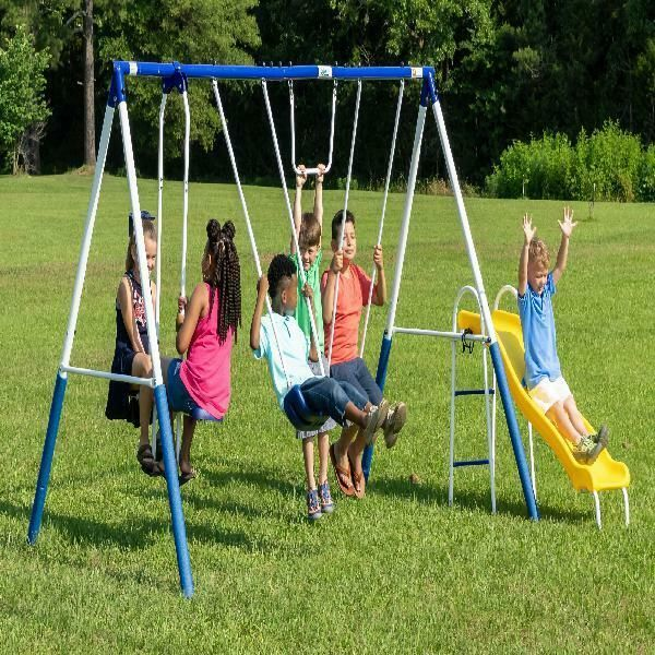 Outdoor Metal Swing Set Fun Glider Slide Trapeze Swing Children Backyard Play Smartdealsmarket In 2020 Metal Swing Sets Metal Swings Swing Set