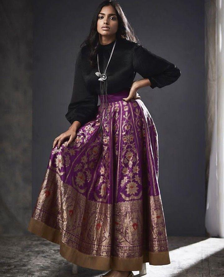 5ce9aba9c31f1 Beautiful Banarasi Silk Lehenga with modern blouse top.  ogaanindia ...