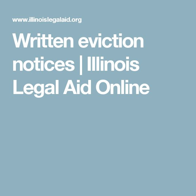 Written eviction notices | Illinois Legal Aid Online