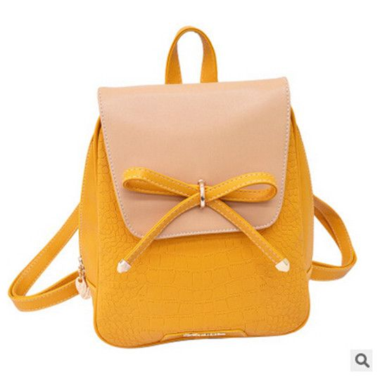 2016 New Women Pu Leather Backpacks Rucksack Bolsas Mochila Candy Colors SchoolBags for girls Travel with Bow Femme Sac A Dos