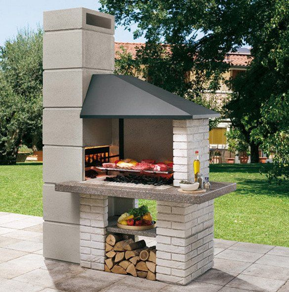 EDILVETTA: Barbecue professionale in muratura da giardino Faro Palazzetti a carbonella e a legna con finitura tipo pietra naturale. Contattaci per sapere il prezzo!