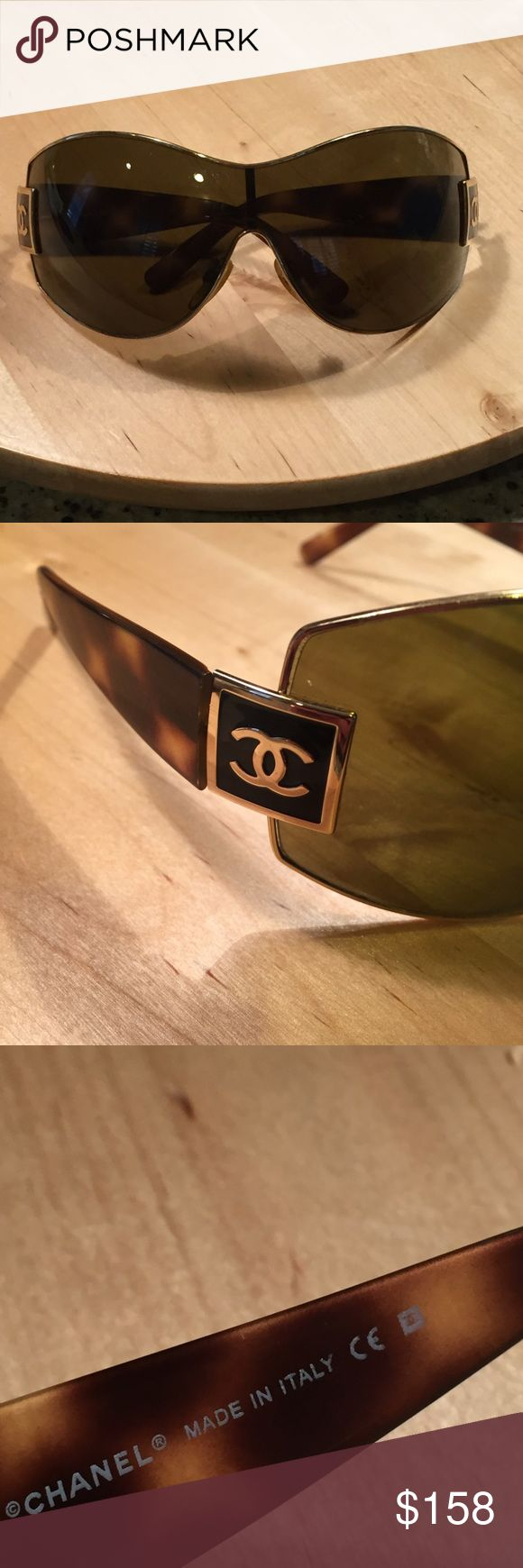 Auth. Chanel sunglasses Auth Chanel sunnies gold/tortoise with logo on both sides minimal scratches no case some wear to the nose pieces see pic No trades open to offers thru offer feature! CHANEL Accessories Sunglasses