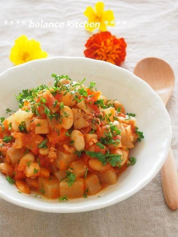 【常備菜】塩分控えめ!根菜と大豆のトマト煮