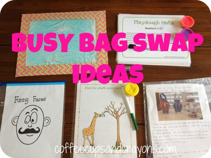 Fun Ideas for a Busy Bag Swap!For Kids, Bags Swap, Business Bags, Kids Activities, Coffee Cups, Fun Ideas, Plays Ideas, Activities Bags, Bags Ideas