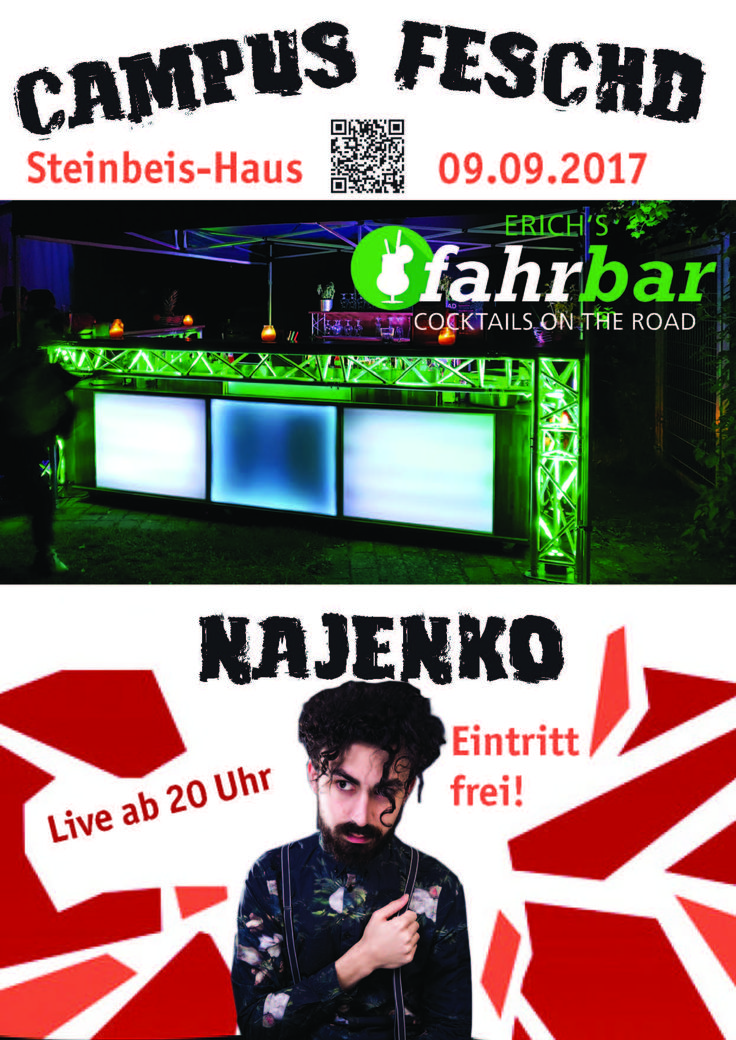 """1. Gaggenauer """"Campus Feschd"""" am Steinbeis-Haus mit Live-Musik. Einbtritt frei. Ab 20 Uhr #Najenko Trio"""