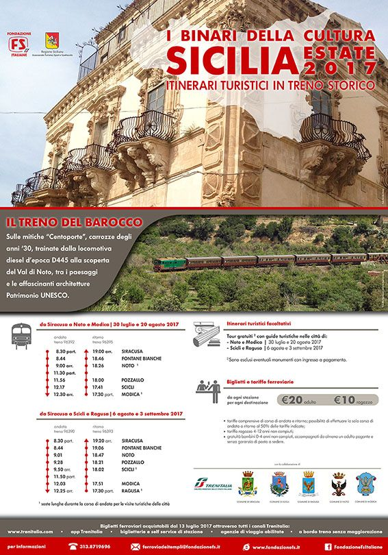 Baroque Train from Syracuse to Noto & Modica | July 30th and August 20th 2017