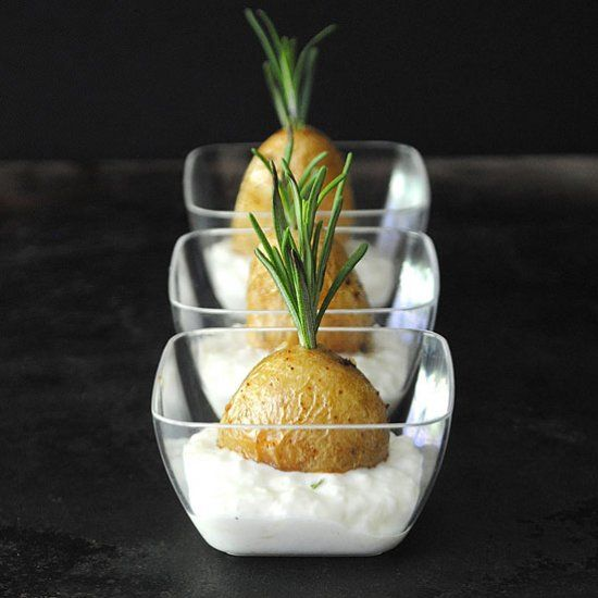 Rosemary Roasted Potatoes served with a Roasted Onion Crema make the perfect one-bite appetizer.