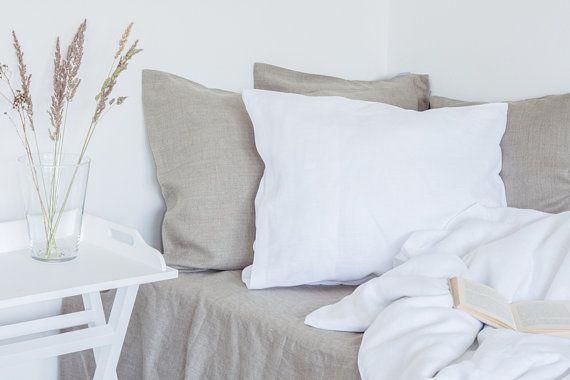 Pure white linen bedding set, custom size, queen size bedding, king size bedding and more