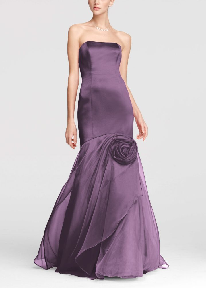 Satin Fit and Flare Bridesmaid Dress with Organza Rosette Detail - Wisteria (Purple), 26
