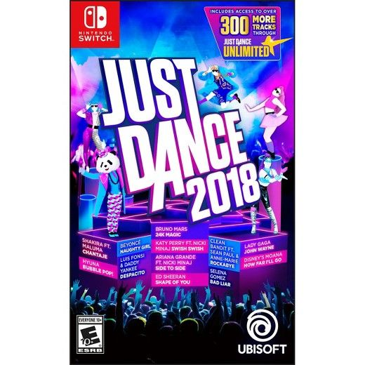 """Game Overview:<br><br>With Just Dance 2018 on the Nintendo Switch system, you can dance with anyone, anywhere, anytime! <br><br>Dance to 40 of the hottest tracks, including """"Despacito"""" by Luis Fonsi & Daddy Yankee, """"Shape Of You"""" by Ed Sheeran, """"Swish Swish"""" by Katy Perry Ft. Nicki Minaj, """"24K Magic"""" by Bruno Mars, """"Naughty Girl"""" by Beyoncé, and many more!<br><br>Great for fa..."""