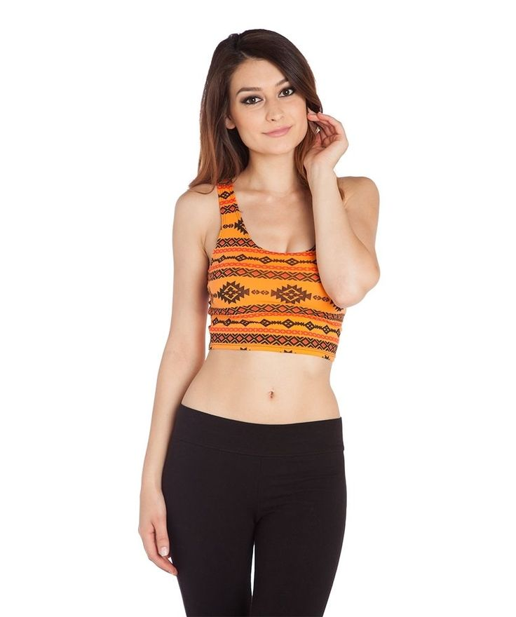 Sexy Orange Aztec Print stretchy fitted cropped crop Tank cami top Costume Party…