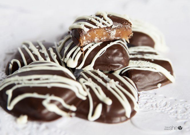 Chocolate Dipped Salted Caramels via @howdoesshe