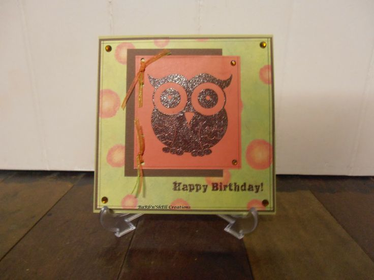 Kaszazz Big Al Owl Stamp - Birthday Card - made by Shell