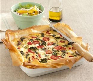 Phyllo dough crusted vegetable quiche (broccoli, tomato, artichoke & mushroom).