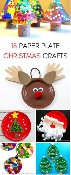 18 seasonal paper plate Christmas Crafts for kids to do this holiday season! From Santa to Christmas trees, ornaments and more! #kidscrafts #ChristmasCrafts