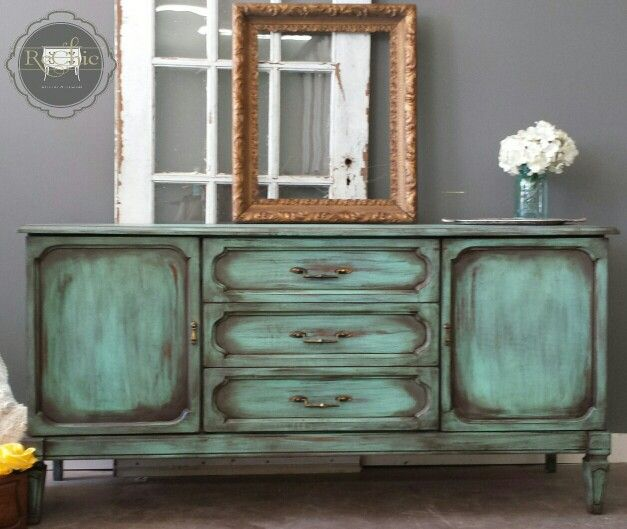 Vintage Credenza Sideboard Painted In A Patina Green Chalk Paint Diy Layers Of Dry Brushing