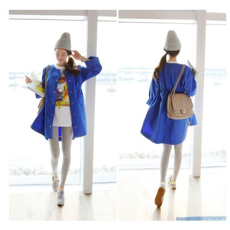 White-Blue Korean Coat JK354 Condition  New  JK354 White-blue Material Cotton Bust112cm-Open Sleeve63cm(From Collar) Length75cm(Front)82cm(Back) With Belt 344  Retail IDR344.000Reseller IDR258.000Wholesaler IDR215.000