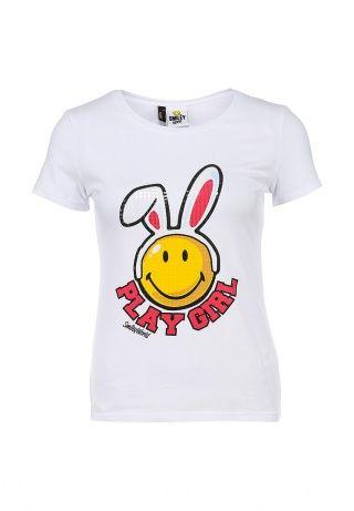 Белая футболка от Baon с ярко-желтым зайцем-смайлом. Модель приталенного кроя создана из мягкого, приятного на ощупь трикотажа. Детали: круглый вырез горловины, короткие рукава. http://j.mp/1lz1byF