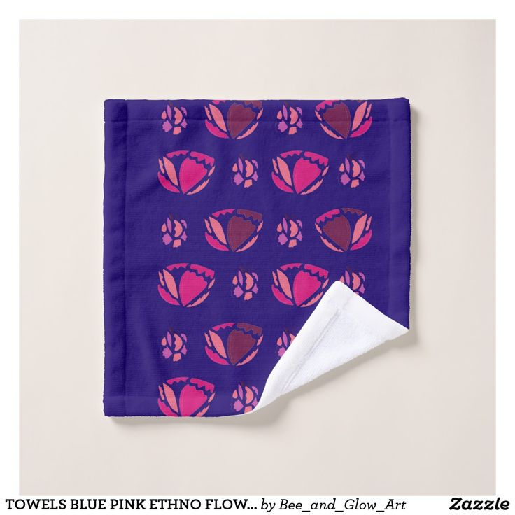 TOWELS BLUE PINK ETHNO FLOWERS