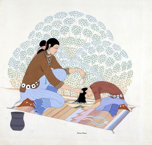 (5/6/14) This painting is typical of Harrison Begay's work illustrating scenes of traditional Navajo life. Here a girl takes off her squash blossom necklace so her mother can help wash her hair. The piece won 1st Place in Southwestern Painting at the 1949 Philbrook Indian Annual and is currently on exhibit at the main Philbrook facility.