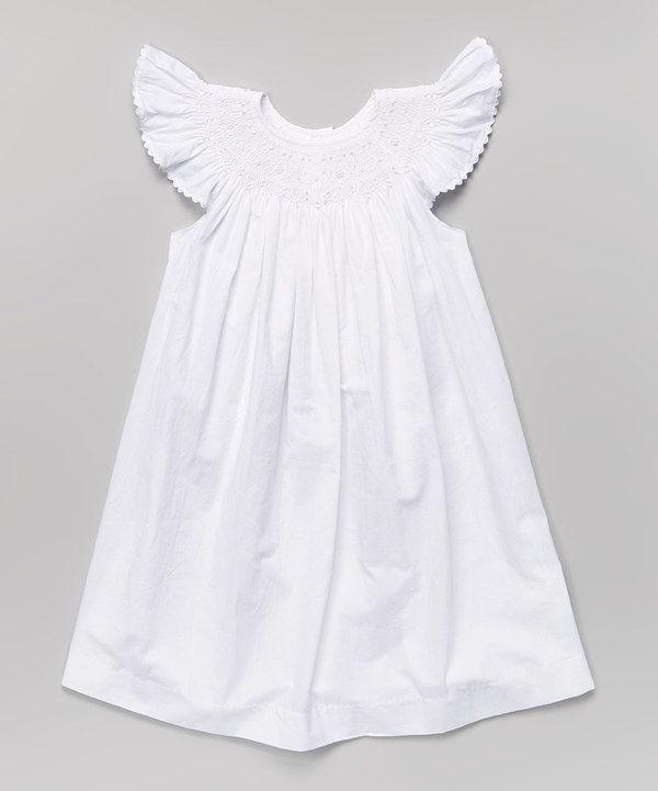 Loving this White Smocked Angel-Sleeve Dress - Infant, Toddler ...