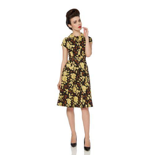 Super mooie vintage jurk in zwart met gele rozen. Super pasvorm. Echt een juweeltje.