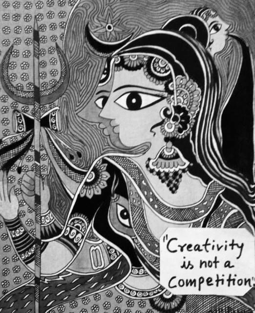 Bharti's new painting on duality.. love the concept !!  #madhubani, #walldecor, #bhartidayal, #artwork, pepupstreet.com, #india