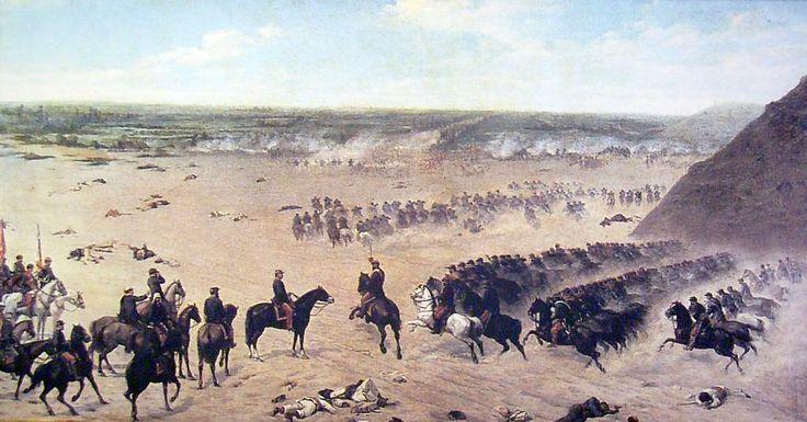Carga de los granaderos en la batalla de Chorillos, Mochi, Giovanni (1831-1892), Oleo sobre tela
