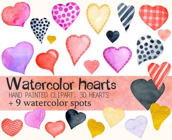 Watercolor Valentine's Clipart  Love Clip Art  by EvgeniiasArt