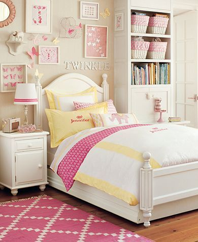 YelloW AND PINK GIRLS ROOM! Love it for Miss Molly Mae..  Classic Paisley Bedroom | Pottery Barn Kids