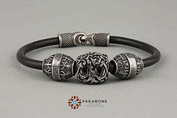Viking Bracelet with Silvered Bronze Bead: Helm of Awe от PAKABONE