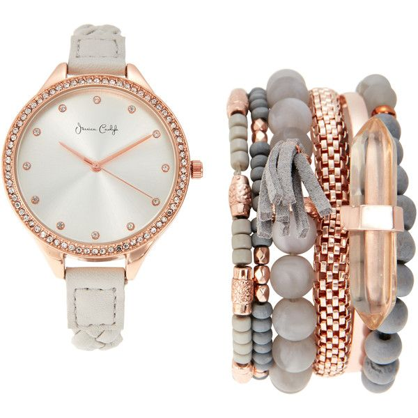 Jessica Carlyle ST2143 Rose Gold-Tone & Grey Watch & Bracelet Set (£20) ❤ liked on Polyvore featuring jewelry, watches, bracelets, accessories, white, white bracelet watch, rose gold tone watches, quartz movement watches, steel bracelet watch and steel watch bracelet